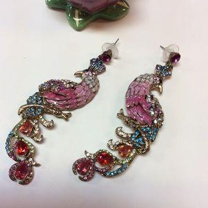 Colorful Peacock Dangle Earrings
